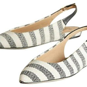 NWOT White Saryn Cotton Canvas Slingback Flats 9.5